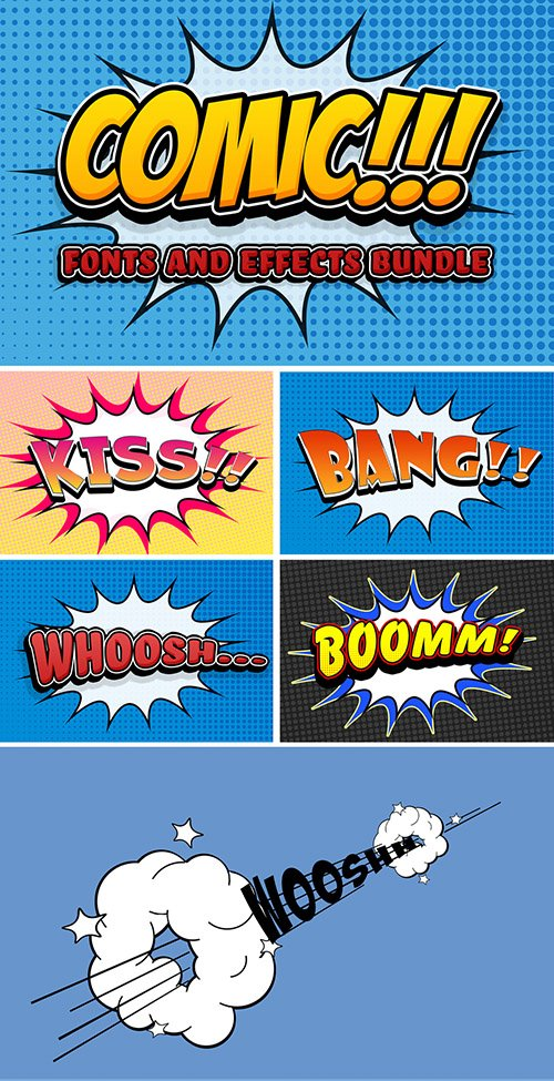 Comic Text Effect Mockup Bundle with Graphic Elements 291567989 PSDT