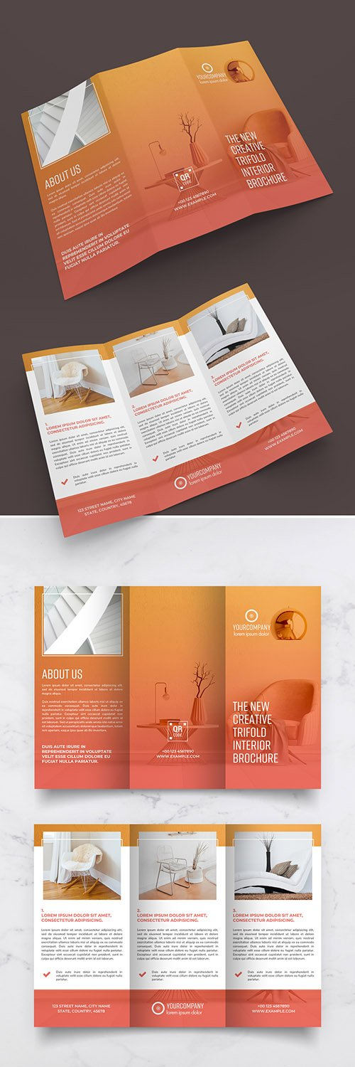 Trifold Brochure Layout with Orange Gradients 290594720 PSDT