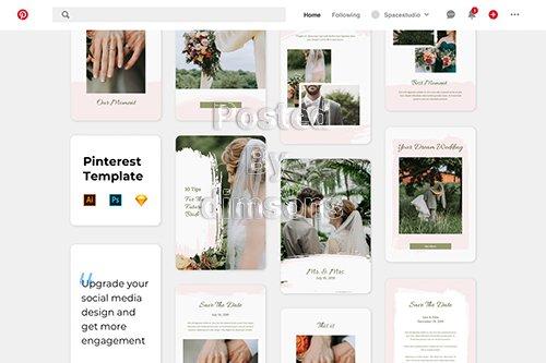Wedding Pinterest Template Brush Style