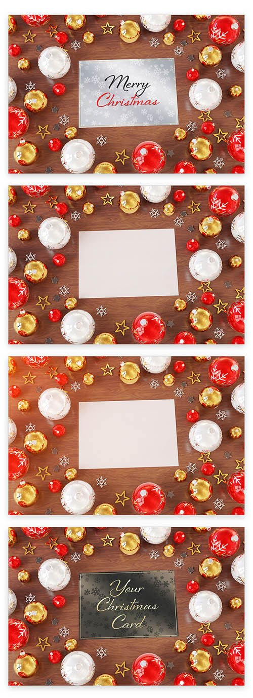 Christmas Card on Wooden Desk with Ornaments Mockup 223233536 PSDT