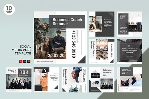 Business Coach Seminar Social Media Kit PSD & AI