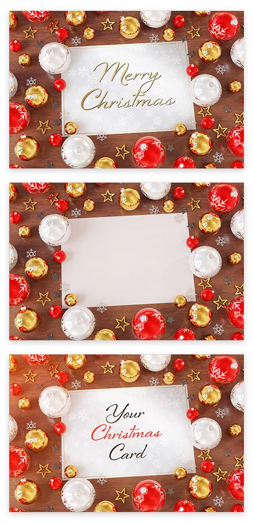 Christmas Card on Wooden Desk with Ornaments Mockup 223233322 PSDT