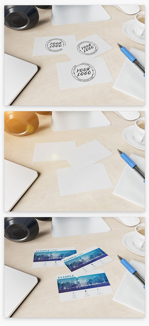 Three Business Cards on Wooden Desk Mockup 222845386 PSDT
