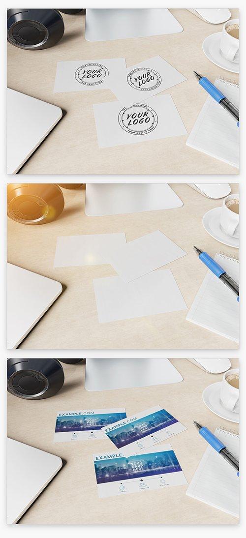 Three Business Cards on Wooden Desk Mockup 222845386 PSDT