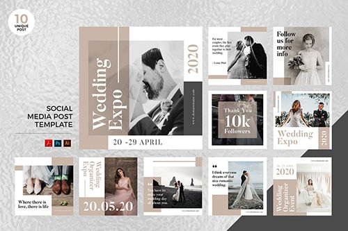 Wedding Planner Social Media Kit PSD & AI