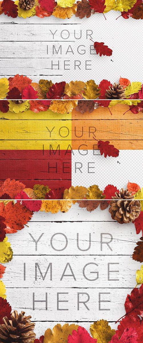 Autumn Leaves on Wood Surface Mockup 289174391 PSDT