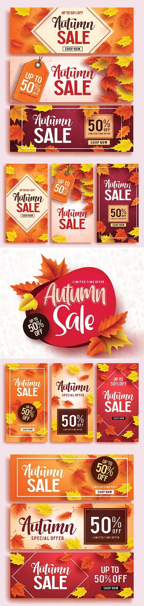 Autumn sale vector banner set template with colorful maple leaves background