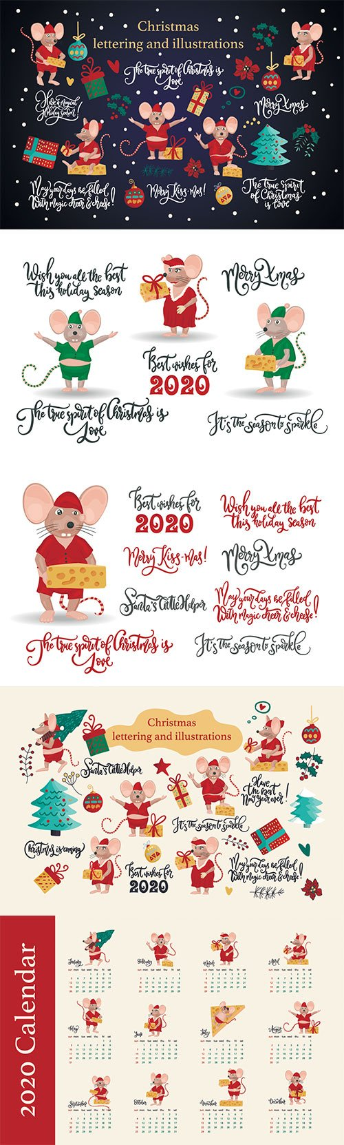 Christmas greeting illustrations with cute mice, decorations and lettering quotes