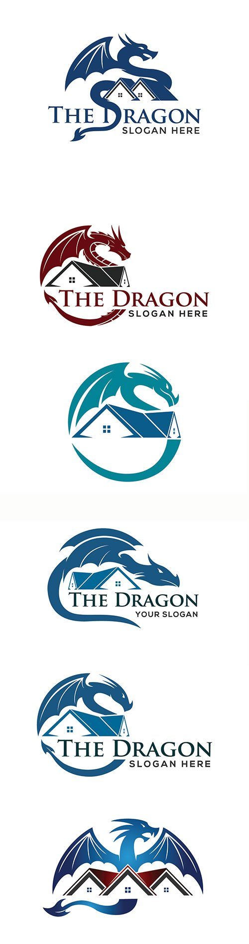 Dragon and roof concept for real estate or home logo icon template