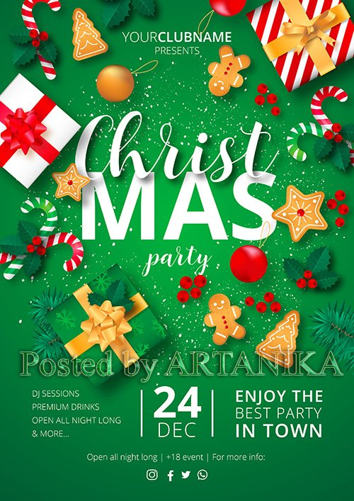 Christmas Party Vector Poster Ready to Print