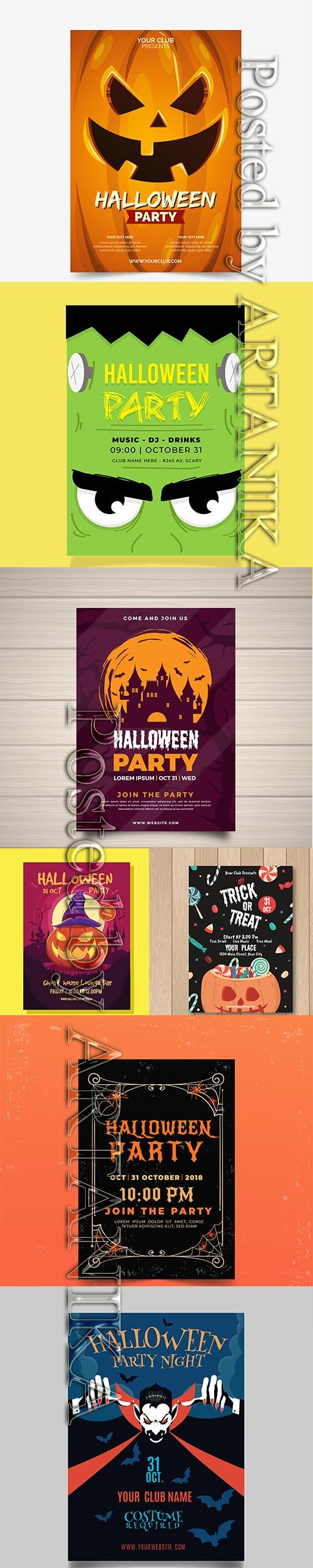 HALLOWEEN PARTY FLYERS AND POSTER PACK VOL 4