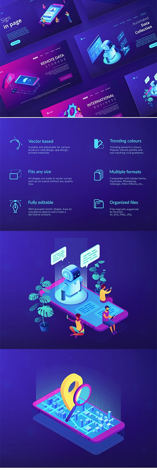 Technology Isometric UV concept Vector illustrations