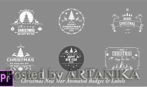 VideoHive - Christmas New Year Badges - Premiere Pro 24822617