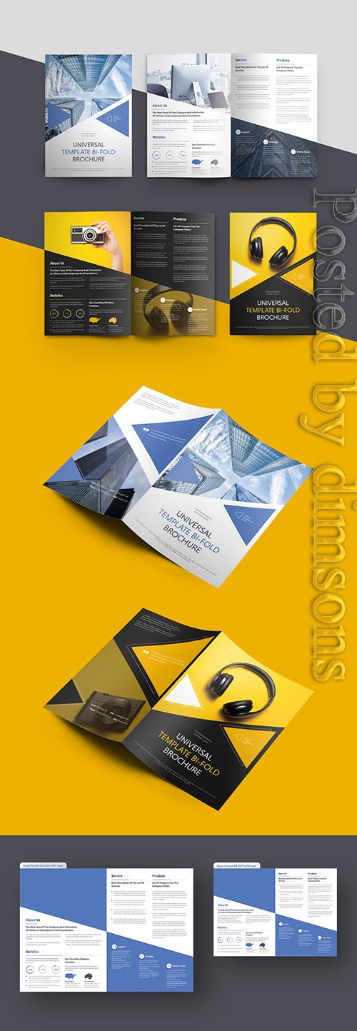 Bifold Brochure Layout with Triangular Elements 223750745
