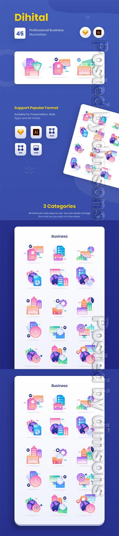 Dihital : Finance Business Data Illustration