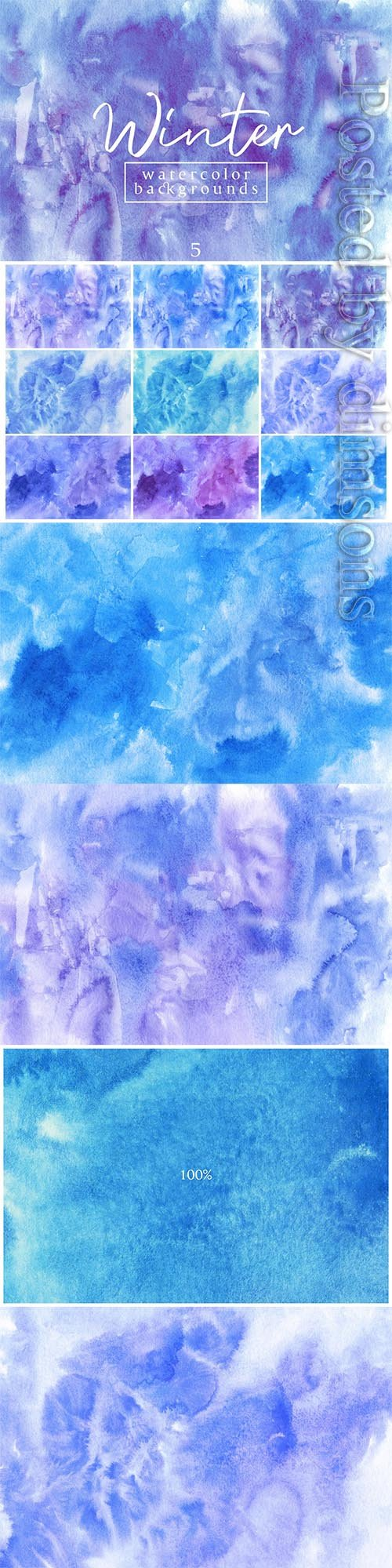Winter Waterolor Backgrounds 5