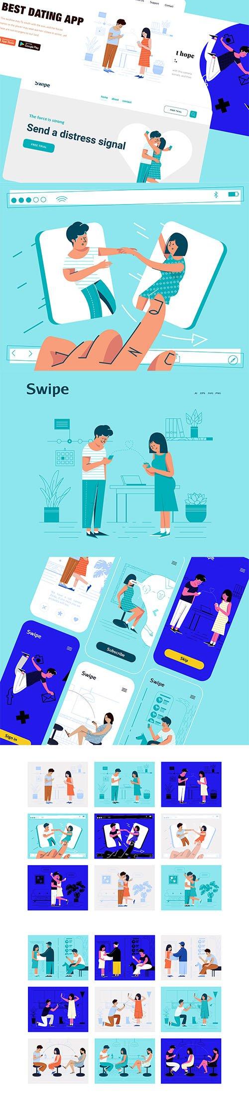 Modern Set of Swipe Illustrations