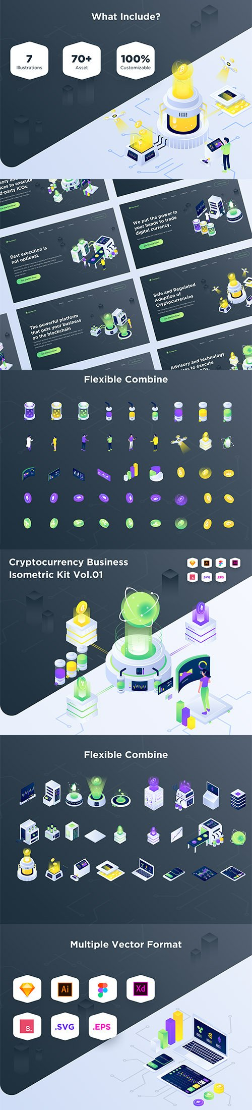 Cryptocurrency Business Isometric Vector Kit Vol.01