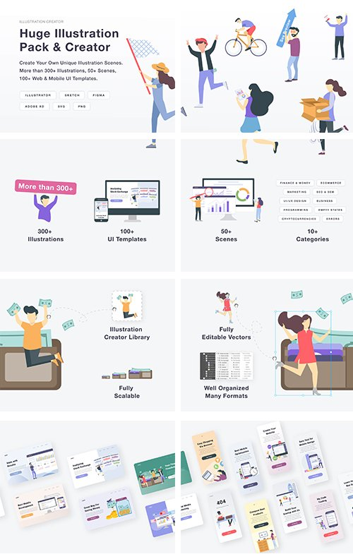 Huge Illustration Vector Pack and Creator