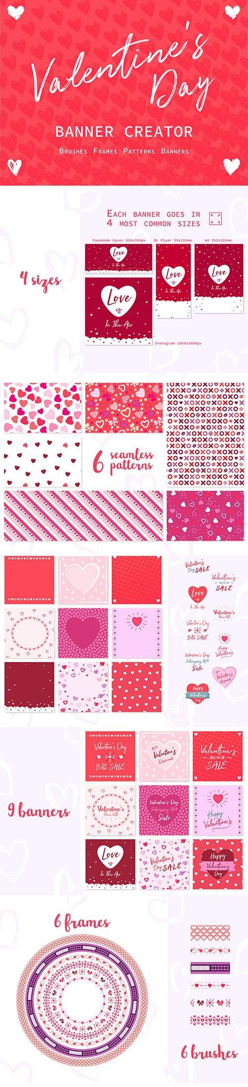 Valentines Day Banner Vector creator