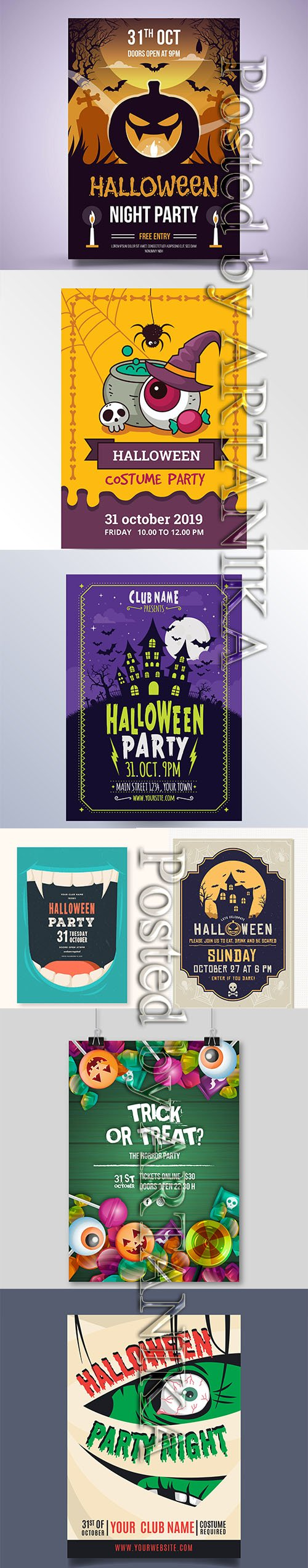 HALLOWEEN PARTY FLYERS AND POSTER PACK VOL 5