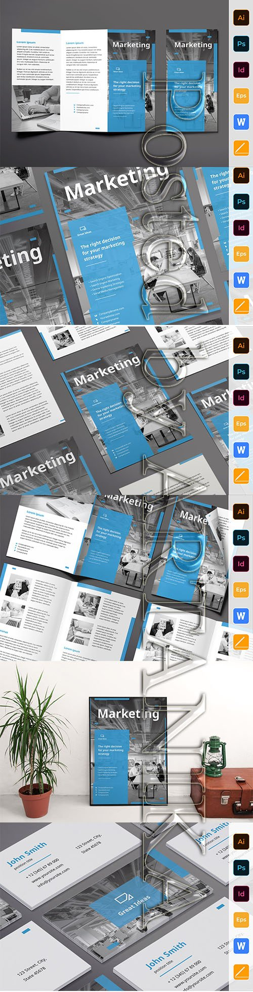 Marketing Firm Poster, Flyer, Business Card, Brochure Trifold and Brochure Bifold Templates