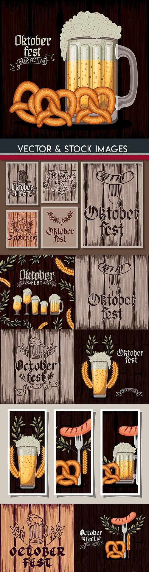Oktoberfest festival beer labet vintage illustration 3