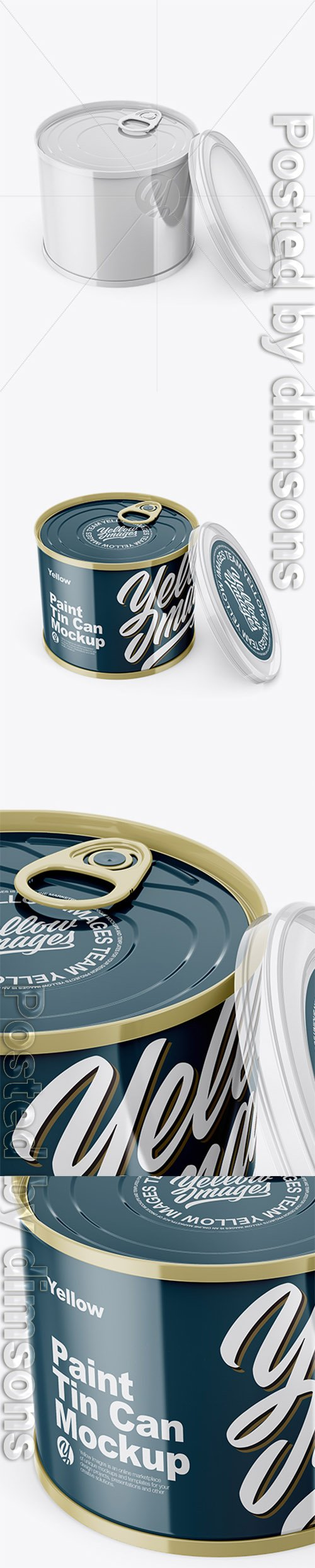 Glossy Tin Can with Transparent Cap Mockup - Front View (High Angle Shot) 31450 TIF
