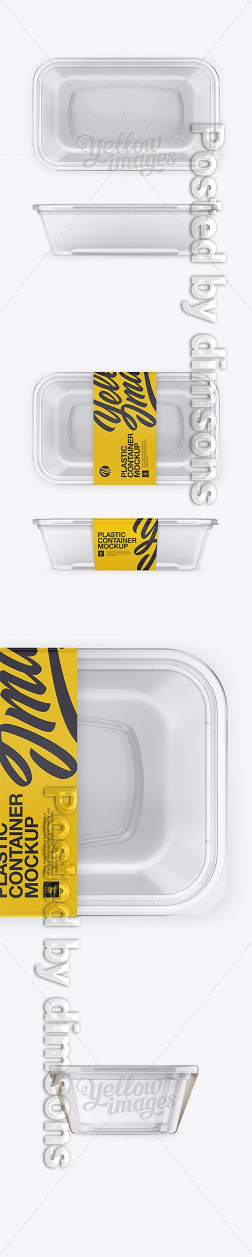 Plastic Clear Container Mockup - Front, Side and Top Views 17794 TIF