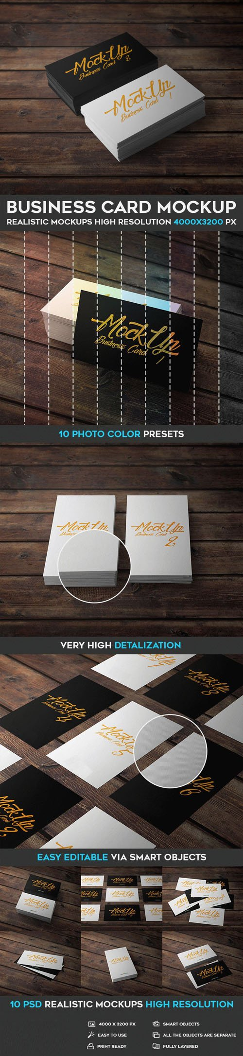 10 Business Card Realistic PSD Mockups