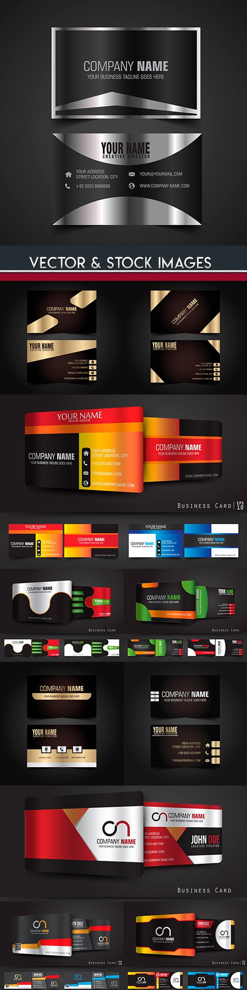 Business card templates dark design collection 38
