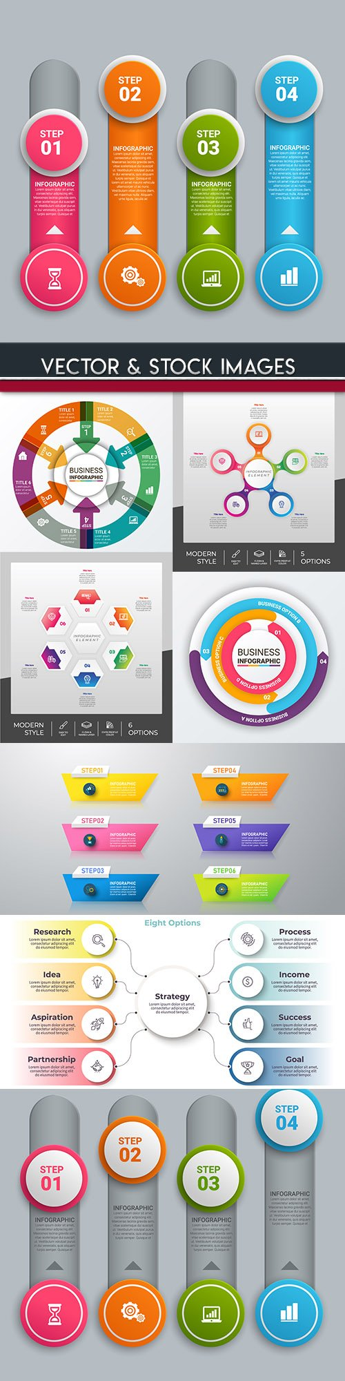 Business infographics options elements collection 100