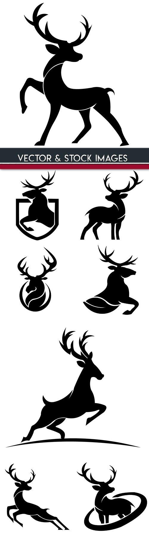 Christmas deer silhouette design illustrations
