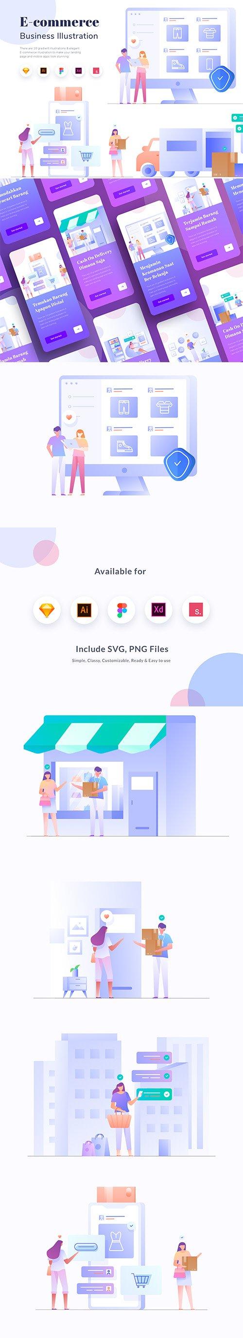 E-commerce Business Vector Illustration KIT