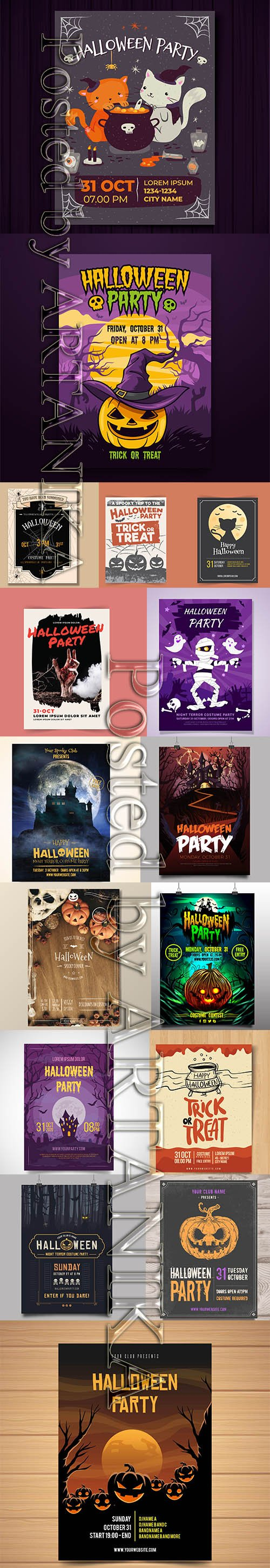 HALLOWEEN PARTY FLYERS AND POSTER PACK VOL 6