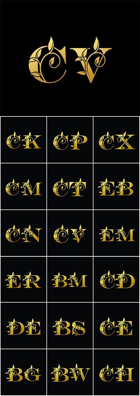 Golden vector letter,  vintage decorative letter logo icon