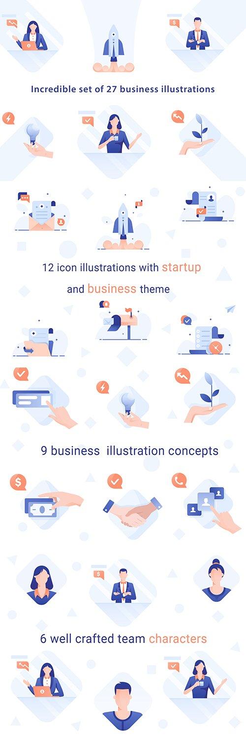 Business illustration Vector pack