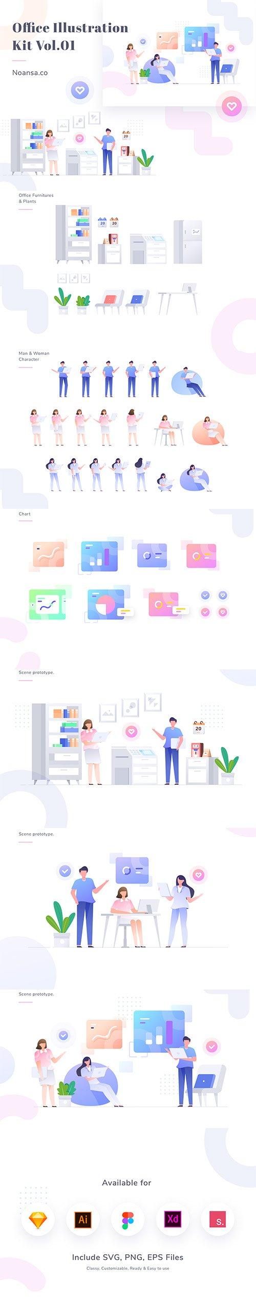 Office Illustration Vector Kit Vol.01