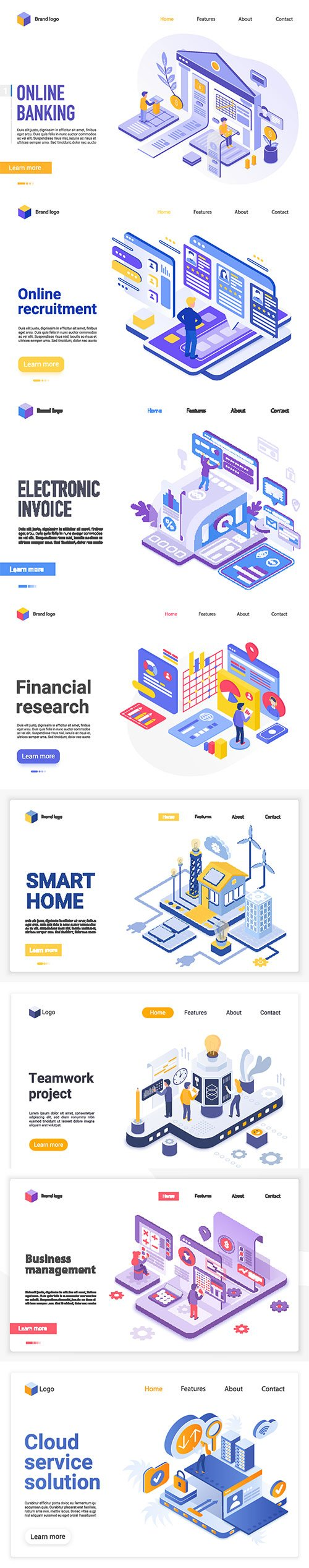 Isometric illustration, vector web banner 3D concept