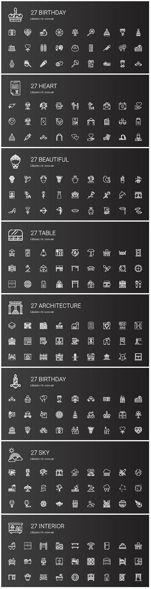 Icons set concept vector illustration