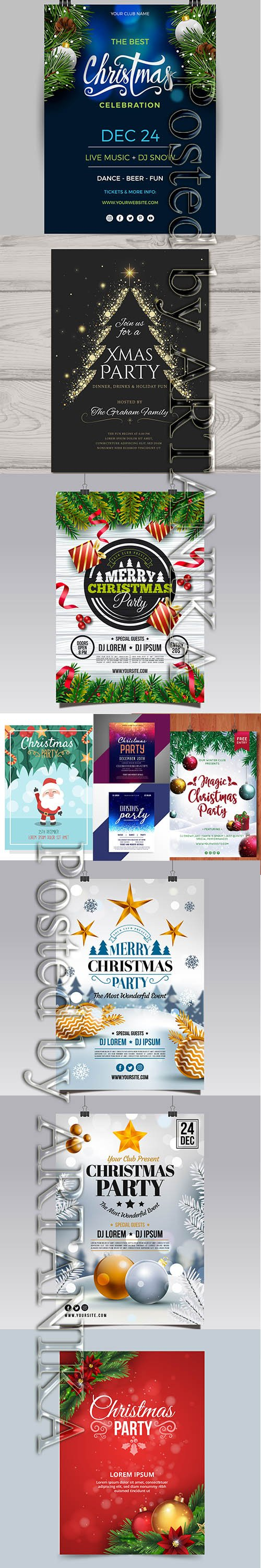 Happy Christmas Poster and Flyers Template Pack