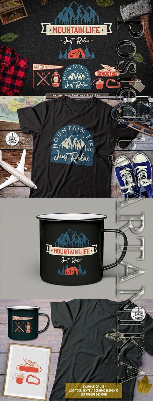 Mountain Life Logos, Retro Camping Badges T-Shirt