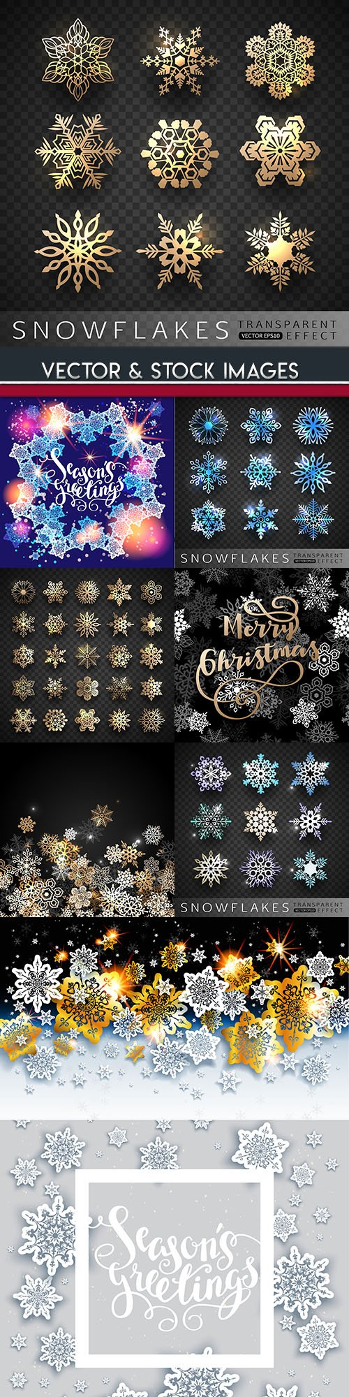 Snowflakes gold and silver Christmas backgrounds
