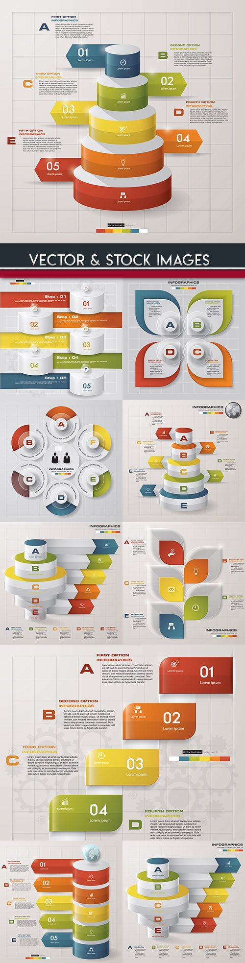 Business infographics options elements collection 102