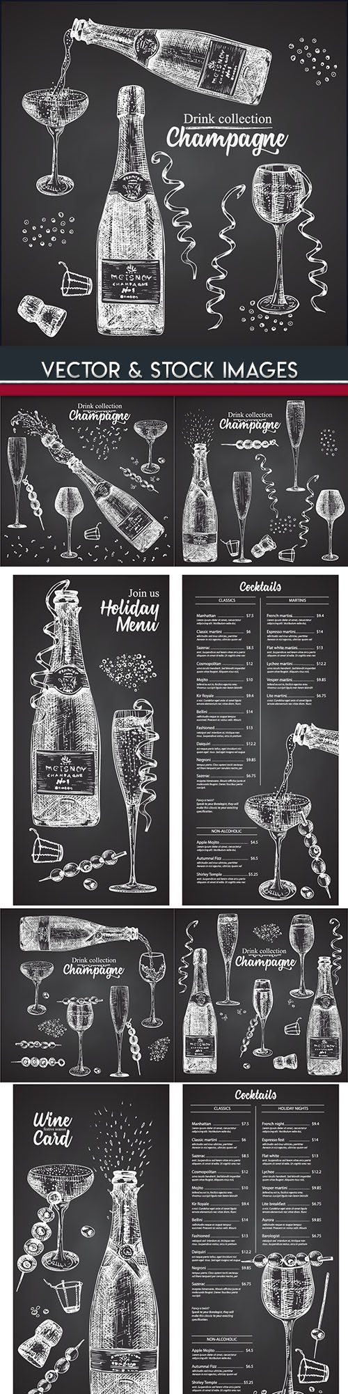 Champagne collection drinks drawn illustrations