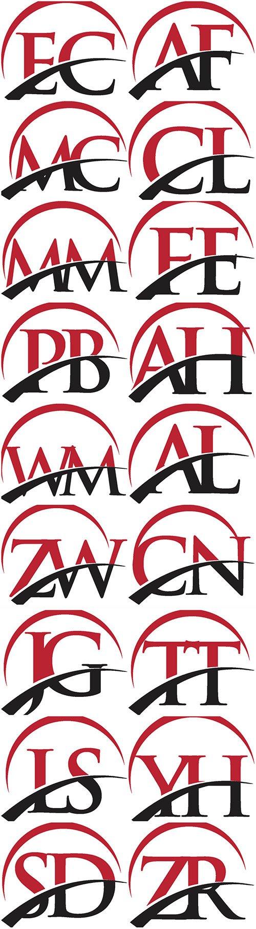 Red vector letter logo swoosh