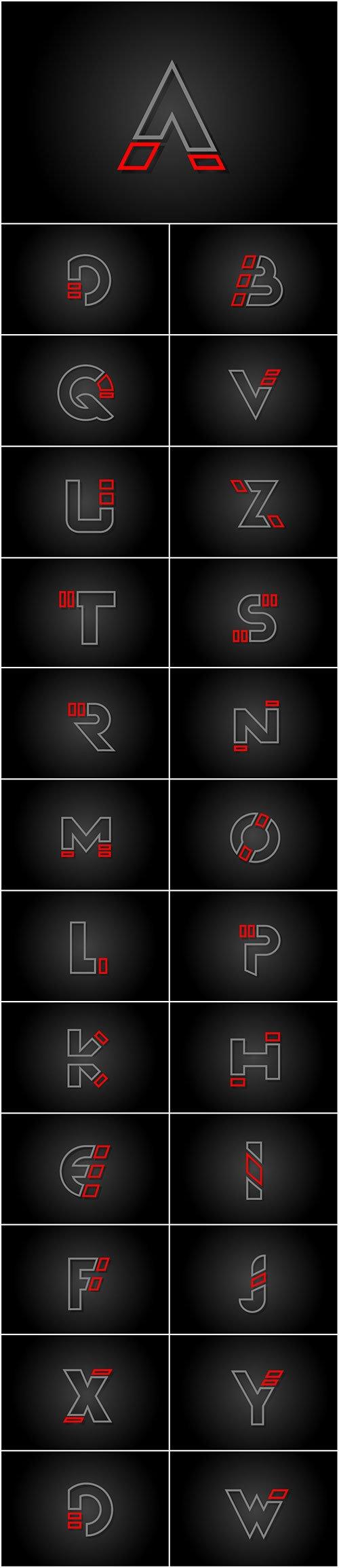 Alphabet line letter red black for company logo icon design