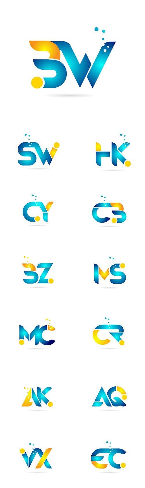 Letter combination orange blue alphabet for company logo