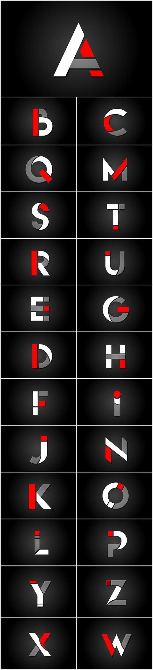 Red white black alphabet letter logo for company icon design