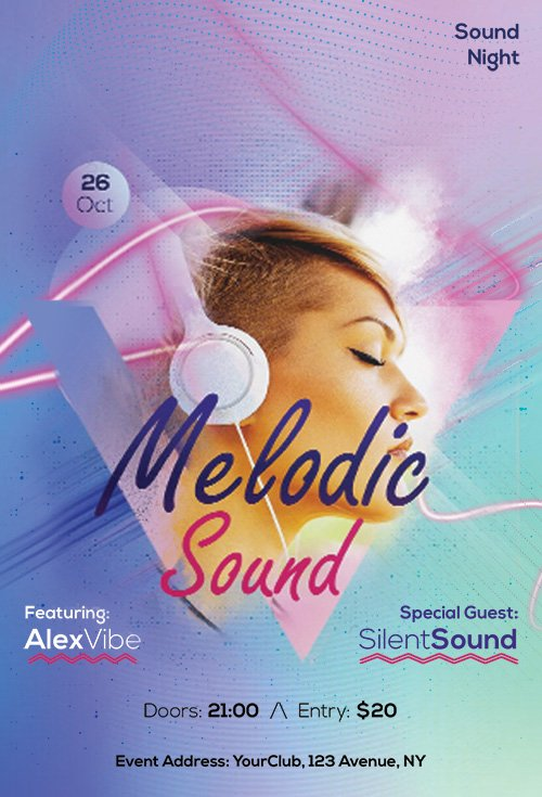 Melodic Sound - Premium flyer psd template
